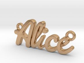Name Pendant - Alice in Natural Bronze