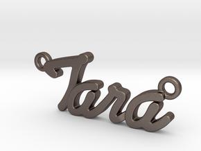 Name Pendant - Tara in Polished Bronzed-Silver Steel