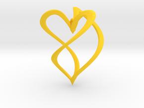 Earring heart in Yellow Processed Versatile Plastic
