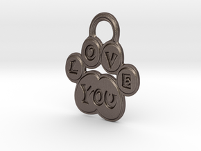 Love You Paw in Polished Bronzed-Silver Steel