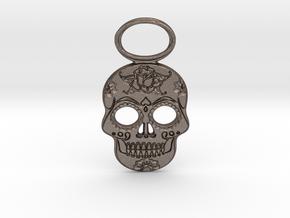 Sugar Skull #1 in Polished Bronzed-Silver Steel