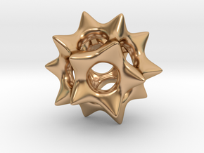 Dodecahedron Pendant Type A in Polished Bronze: Small