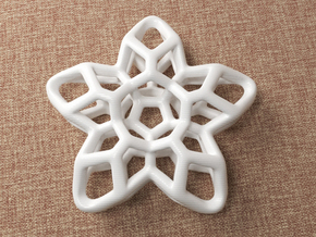 Flower Pendant Type A in White Natural Versatile Plastic: Medium