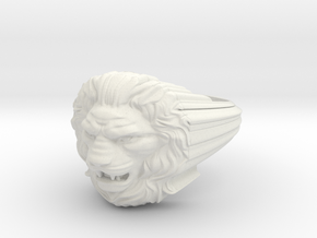 Lion ring # 2 in White Natural Versatile Plastic