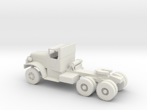 1/72 Scale White 6x6 Tractor in White Natural Versatile Plastic