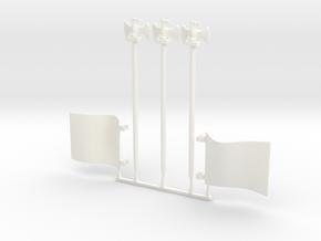 3 x Eagle 2 x Flag in White Processed Versatile Plastic
