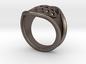 Men Steel Ring in Polished Bronzed-Silver Steel: 8 / 56.75