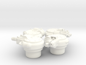 4 Piece Combo - R1 Hatch Turrets in White Processed Versatile Plastic
