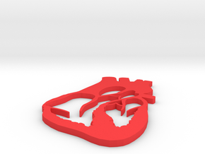 Heart Pendant in Red Processed Versatile Plastic