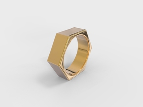 Hexagon Nut Ring in 18k Gold Plated Brass: 5 / 49