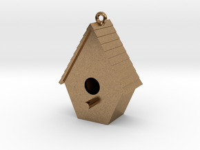 Birdhouse Pendant in Natural Brass
