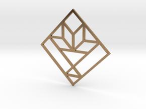 Cactus Basket Quilt Block Pendant in Natural Brass