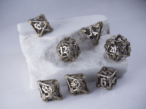 Iron Warden dice set with decader  in Polished Bronzed-Silver Steel