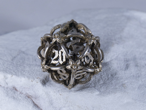 Iron Warden d20 in Polished Bronzed-Silver Steel