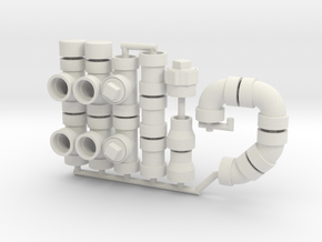 """1:18 Scale Pipe Fittings Variety Pack: 1/4"""" 0.25"""" in White Natural Versatile Plastic"""