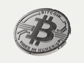 Bitcoin Coin BTC in Polished Silver