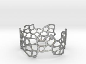 Cells Bracelet (open, 64mm) in Natural Silver