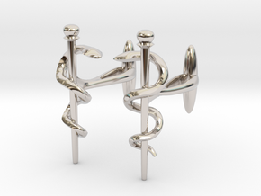 Snake rod cufflinks (medicine) in Platinum