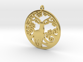 Deer-Circular-Pendant-Stl-3D-Printed-Model in Polished Brass: Medium