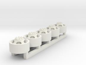 Rim 5 pack - 1-64 Scale  in White Natural Versatile Plastic