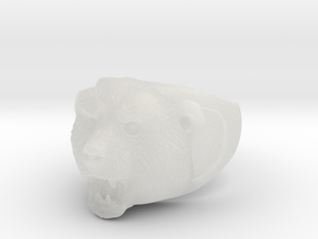 Grizzly bear ring in Smooth Fine Detail Plastic