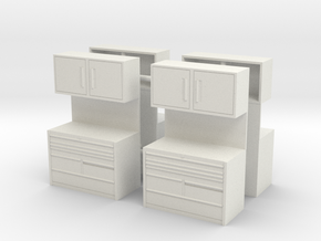 1/50th Mechanic Tool Chest Shop Cabinet (4) in White Natural Versatile Plastic