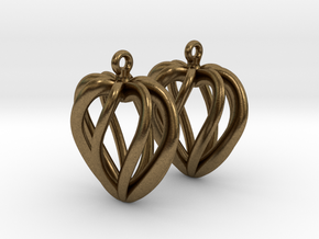 Heart Cage Earrings in Natural Bronze