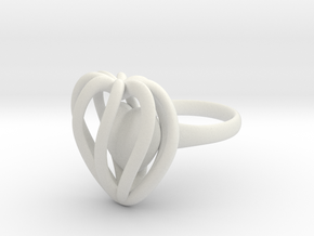 Heart Cage Ring in White Natural Versatile Plastic