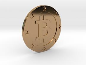 Bitcoin real coin in Polished Brass