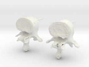 Garden Gnome's L-3 Lumbar Vertebra Earstuds in White Premium Versatile Plastic
