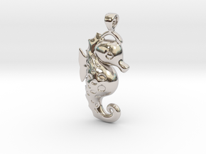 Sea Horse Pendant in Rhodium Plated Brass