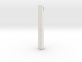Happy Birthday Vertical Bar Pendant in White Natural Versatile Plastic
