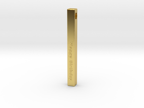 Happy Birthday Vertical Bar Pendant in Polished Brass