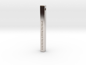 """Vertical Bar Pendant """"IF You Can Dream"""" in Rhodium Plated Brass"""