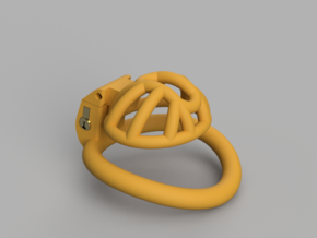 Cherry Keeper Cage - Stub Wide in Yellow Processed Versatile Plastic
