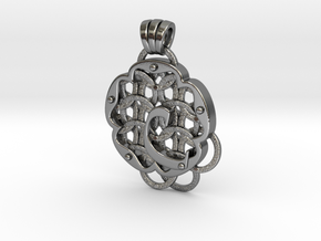 Chain Mail Pendant C in Polished Silver