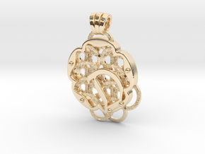 Chain Mail Pendant D in 14k Gold Plated Brass