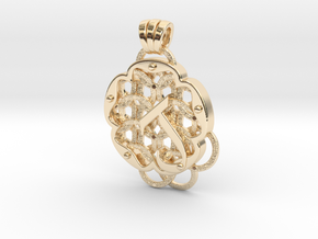 Chain Mail Pendant J in 14k Gold Plated Brass