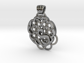 Chain Mail Pendant S in Polished Silver