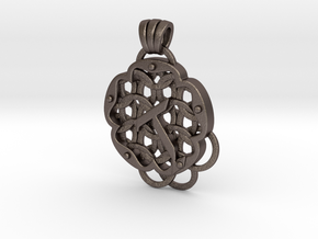 Chain Mail Pendant T in Polished Bronzed-Silver Steel