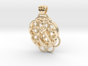 Chain Mail Pendant U in 14k Gold Plated Brass