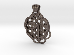Chain Mail Pendant Z in Polished Bronzed-Silver Steel