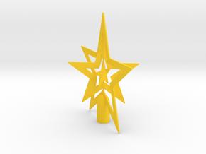 """Star spark tree topper - Medium 16cm 6¼"""" in Yellow Processed Versatile Plastic"""