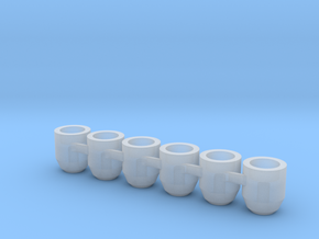 (6) 5mm Flight Stand Magnet Cup in Smooth Fine Detail Plastic