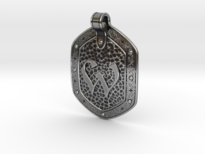 Hammered Pendant W in Antique Silver