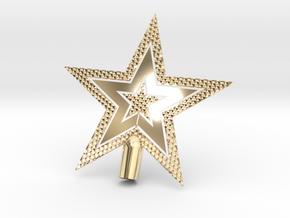 "Star Glistening Tree Topper - 10cm 4""  in 14k Gold Plated Brass"