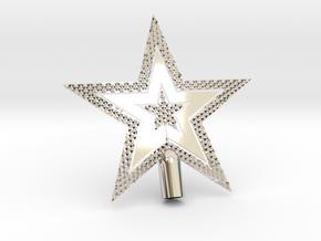 "Star Glisten Tree Topper - 10cm 4""  in Rhodium Plated Brass"