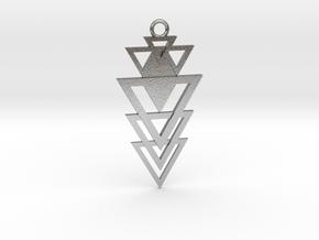 Geometrical pendant no.12 metal in Natural Silver: Medium