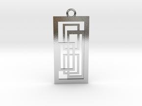 Geometrical pendant no.2 metal in Polished Silver: Medium