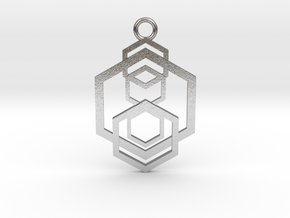 Geometrical pendant no.5 metal in Natural Silver: Large